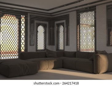 Living room interior at street level with ornate window grills and a corner unit comfortable brown modular lounge suite.  3d Rendering