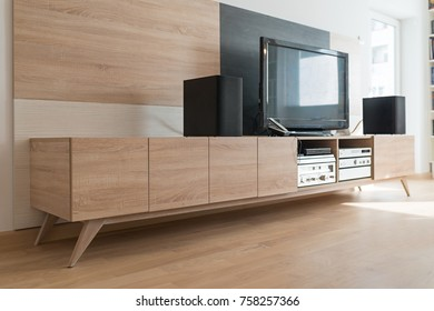 Living room interior, tv stand