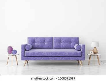 Living room interior with violet velvet sofa, vases and lamp on empty white wall background. 3D rendering.
