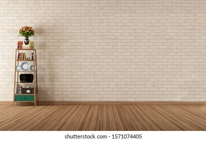 Living Room interior wall mockup with blue armchair and background. 3D rendering.