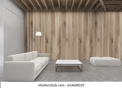 Living room interior with wooden walls, a sofa, a rectangular coffee table and two pouffes. 3d rendering, mock up