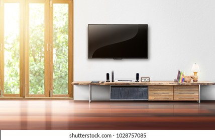 Living room led tv on white wall with wooden table empty interrior