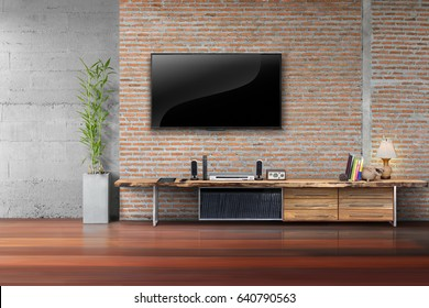 Living room led tv on red brick wall with wooden table and plant in pot empty interior