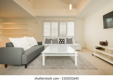 living room of loft apartment