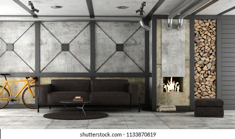 Living room in a loft with fireplace and leather sofa - 3d rendering