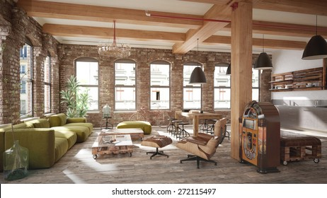Living room loft in rustic style - 3 d render (using 3 d s Max)