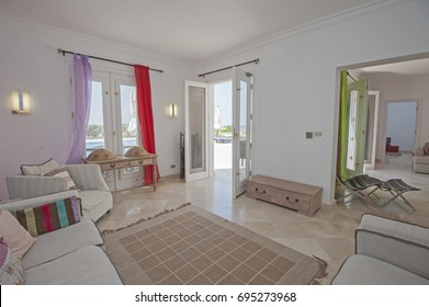 Living room lounge in luxury apartment show home showing interior design decor furnishing
