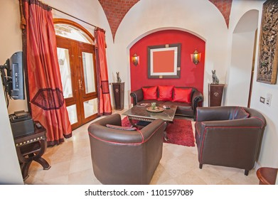 Living room lounge in luxury villa show home showing interior design decor furnishing