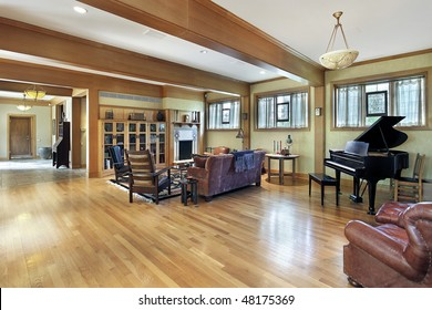 Living room in luxury home with ceiling beams
