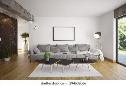 Living room - Minimalism (3 d render using 3 d s Max)