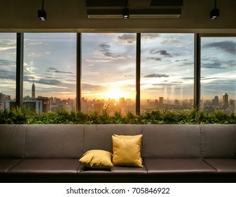Living room modern and outside Beautiful view building city sky in the office
