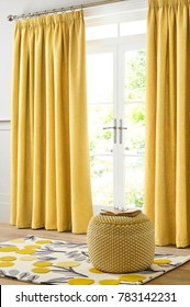 Living room in a modern style with curtains