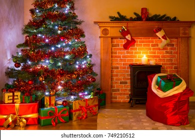 A living room on Christmas Eve with presents under the tree, a mince pie and glass of milk on the fireplace waiting for Santa.