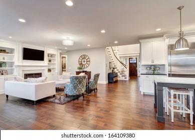 Living Room Panorama of Luxury Home