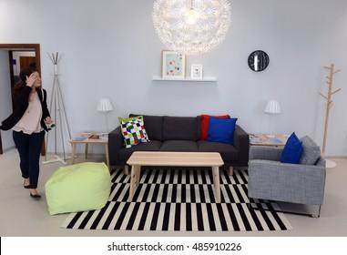 Spacious Cozy Living Room Designed Vintage Stockfoto Jetzt