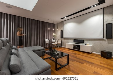 Living room with projector screen, gray couch and black coffee table