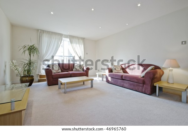 Living Room Purple Sofas Massive Plant Stock Photo (Edit Now ...