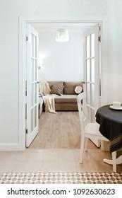 Living room scandinavian style interior, studio apartment design