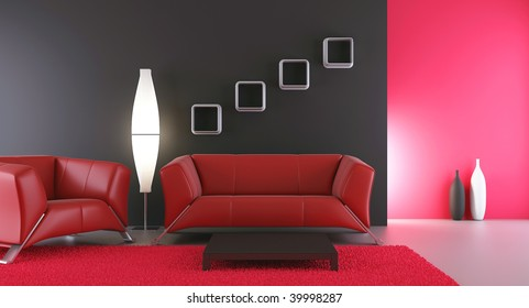 Living Room Setting - couch and armchair to face a blank wall