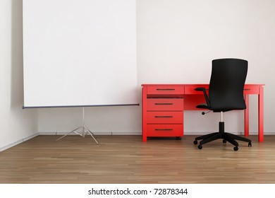 Living Room Setting - office table, chair and flip-chart to face a blank wall, cgi