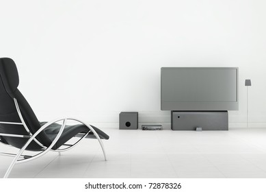 Living Room Setting - tv and sound system to face a blank wall