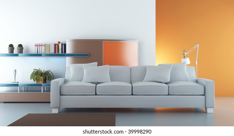 Living Room Setting - white couch to face wall