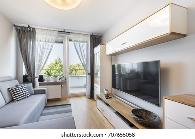 Living room in small apartment - modern interior design series