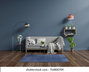 Living room with sofa in the living room, dark walls.3D rendering