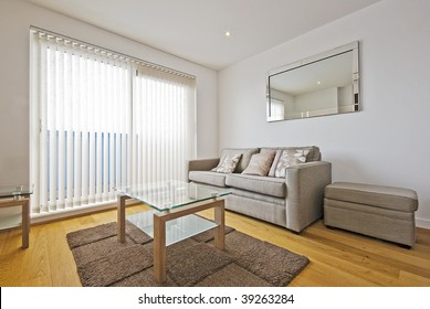 living room with sofa and designer coffee table