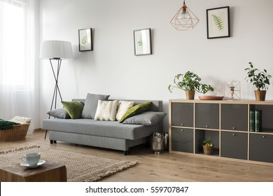 Living room with sofa, lamp and rack
