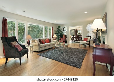 Living room with staging