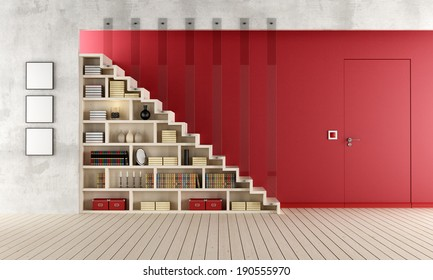 Living room with a staircase, bookcase and door flush with the wall - rendering