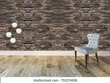living room stone wall decorative interior design chair and modern lamp
