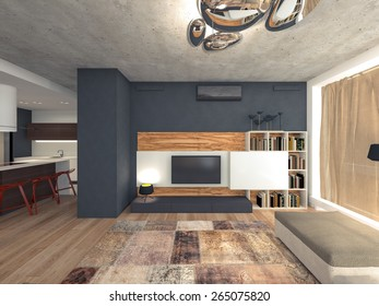 living room with TV 3d rendering