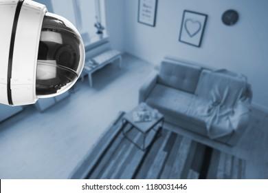 Living room under CCTV camera surveillance, above view