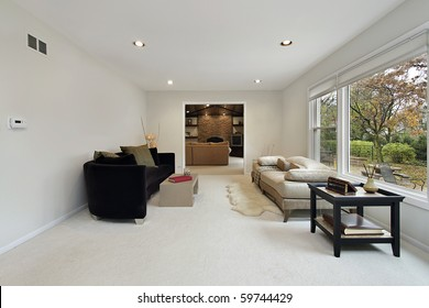 Living room with view into family area