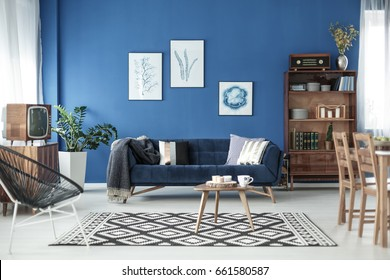Living room view in stylish retro elegant apartment