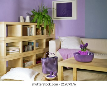 living room with violet walls