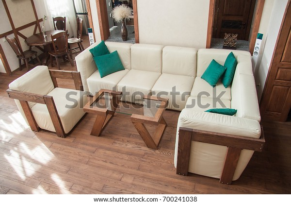 Admirable Living Room Wooden Furniture White Leather Stock Photo Edit Machost Co Dining Chair Design Ideas Machostcouk