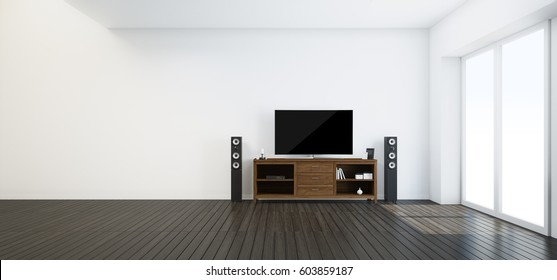 living room.modern interior with wooden tv stand and hi-end speaker