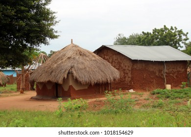 Living in Uganda Africa, huts made of wood and straw