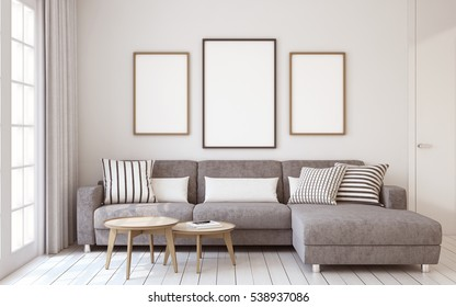 Living-room interior in scandinavian style. Mock-up interior with posters. 3d render.
