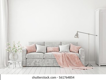 Livingroom Interior with sofa, pillows, plaid, lamp 