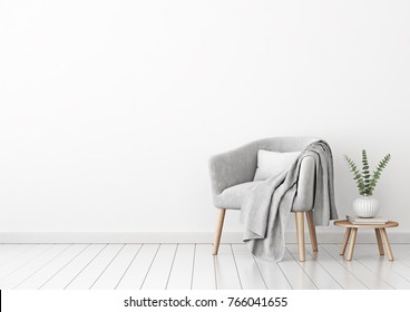 Livingroom interior wall mock up with gray velvet armchair, cushion, plaid and plant in vase on empty white background. 3D rendering.