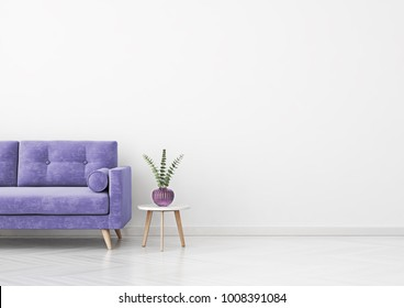 Livingroom interior wall mock up with violet velvet sofa, plant in vase and coffee table on empty white background. 3D rendering.