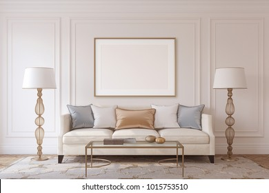 Living-room in neoclassic style. Frame mockup. 3d render.