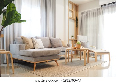 livingroom working area white and light wood tone interior house japanese style