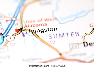 Livingston. Alabama. USA on a map