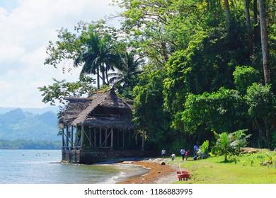 Livingston, Guatemala - March 2018: Views of the coast of Livingston