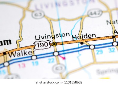 Livingston. Louisiana. USA on a map